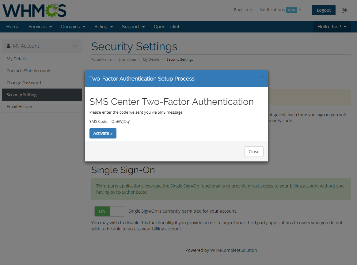 SMS Center For WHMCS: Screen 26