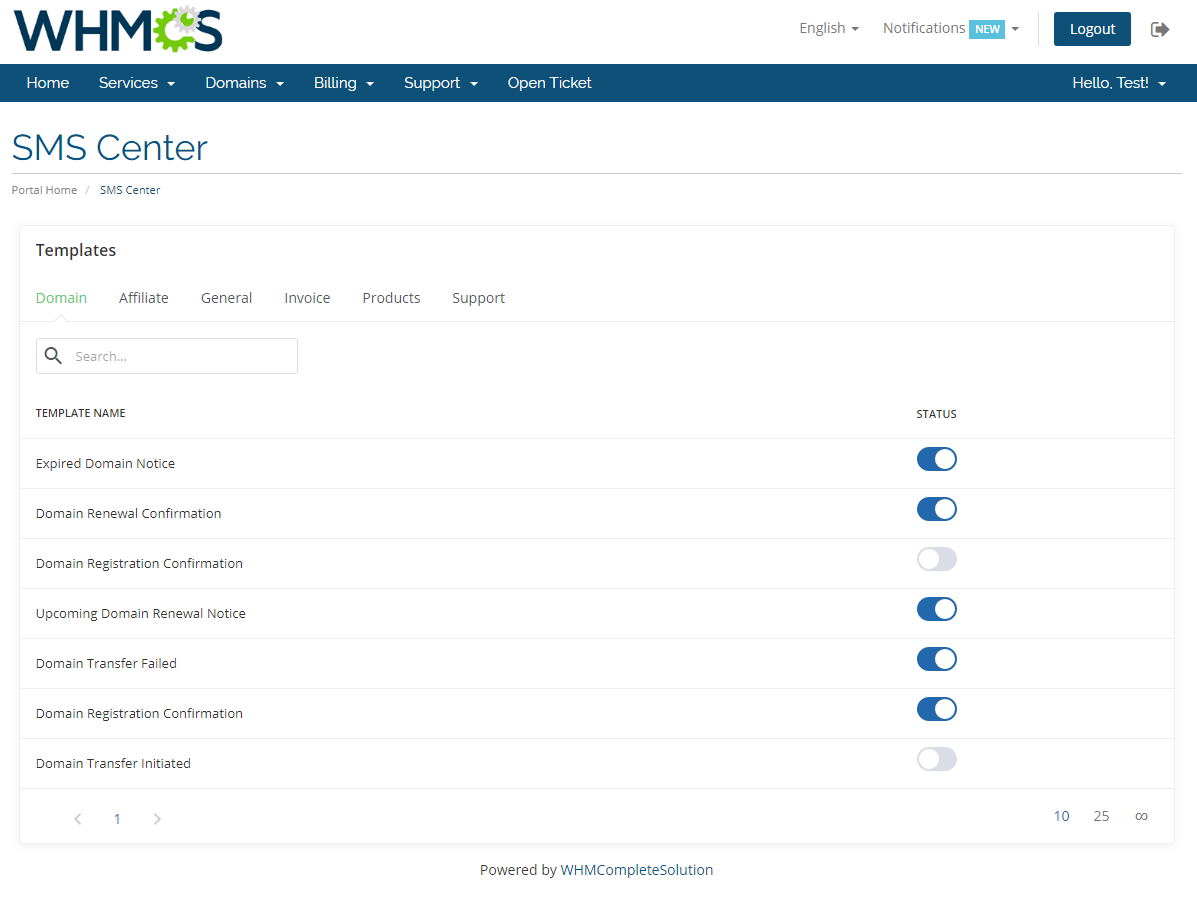 SMS Center For WHMCS: Module Screenshot 22