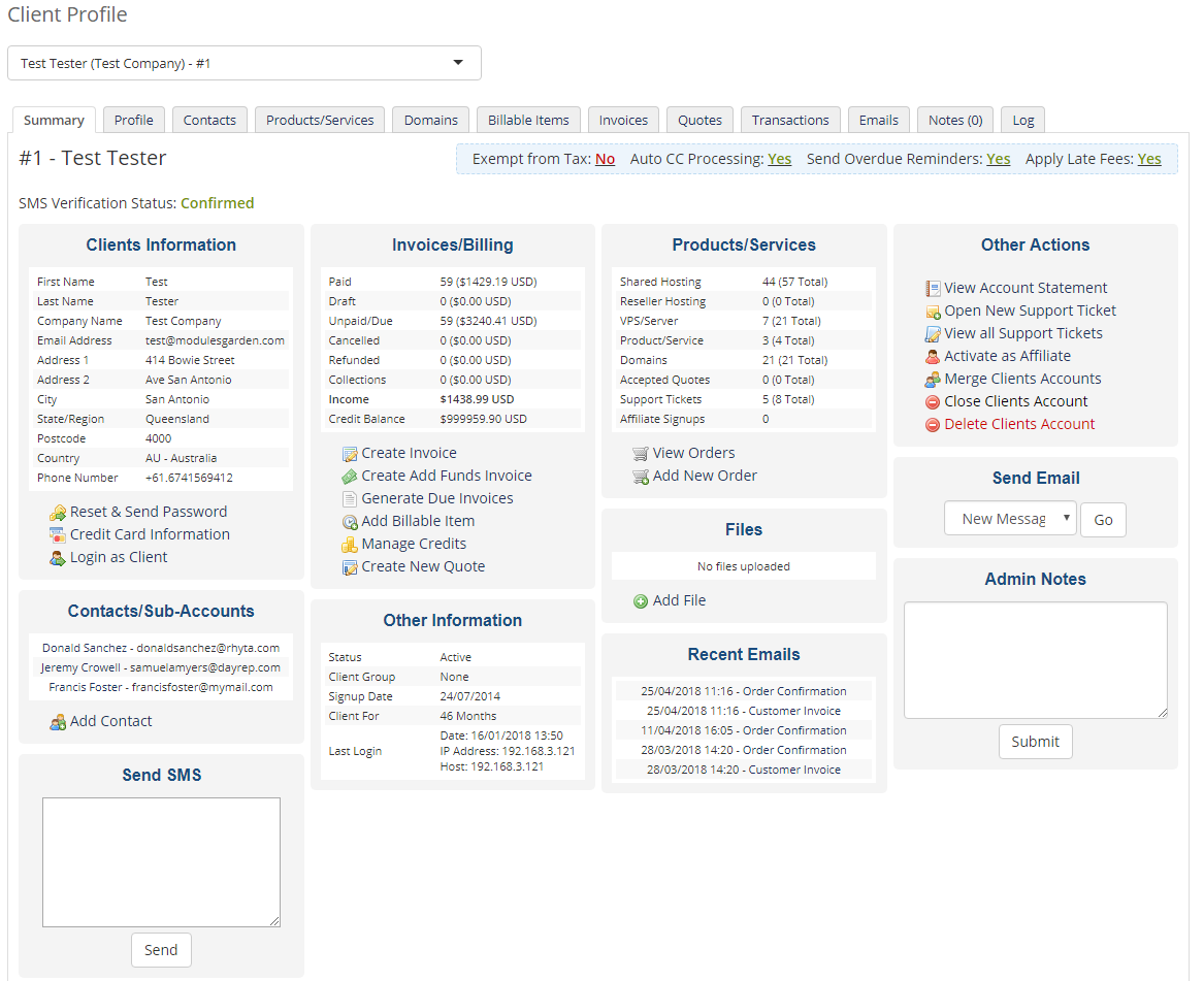 SMS Center For WHMCS: Module Screenshot 29