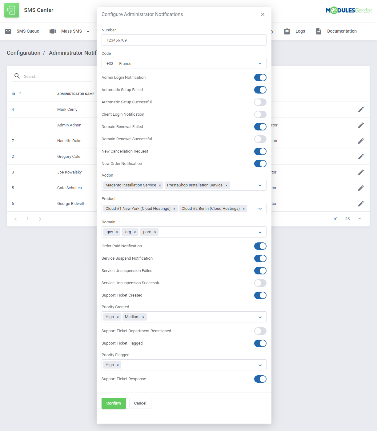 SMS Center For WHMCS: Module Screenshot 17