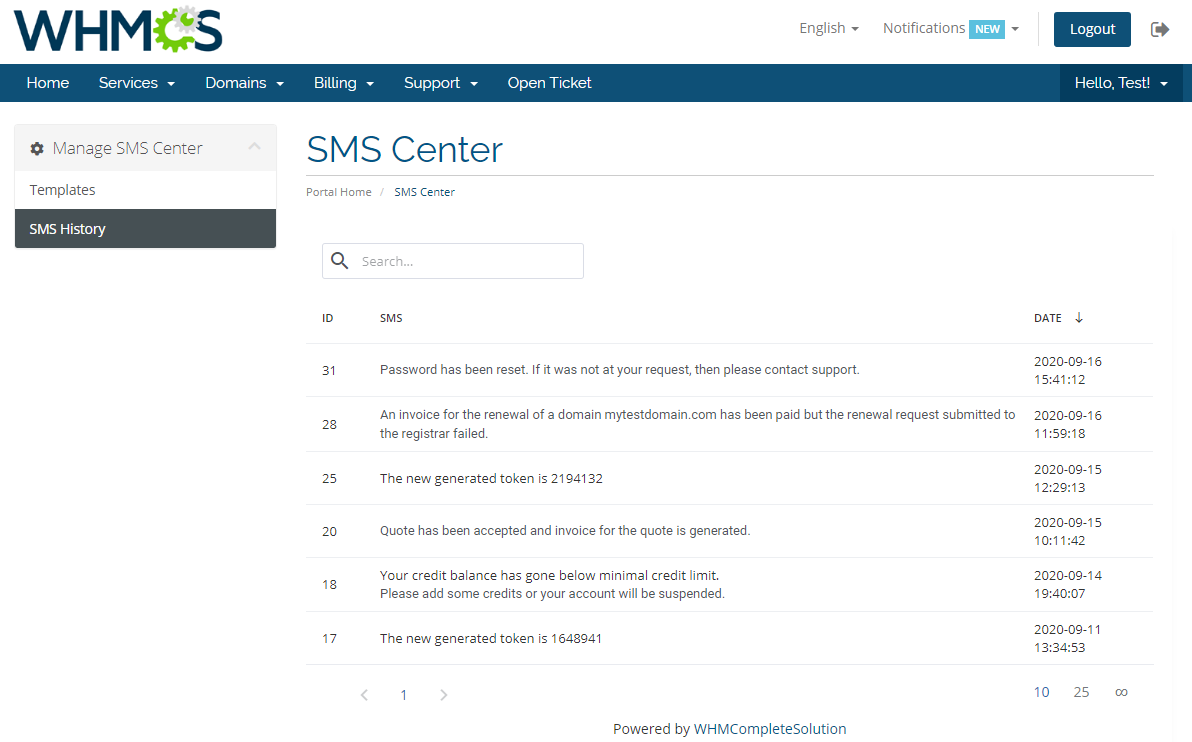 SMS Center For WHMCS: Module Screenshot 24