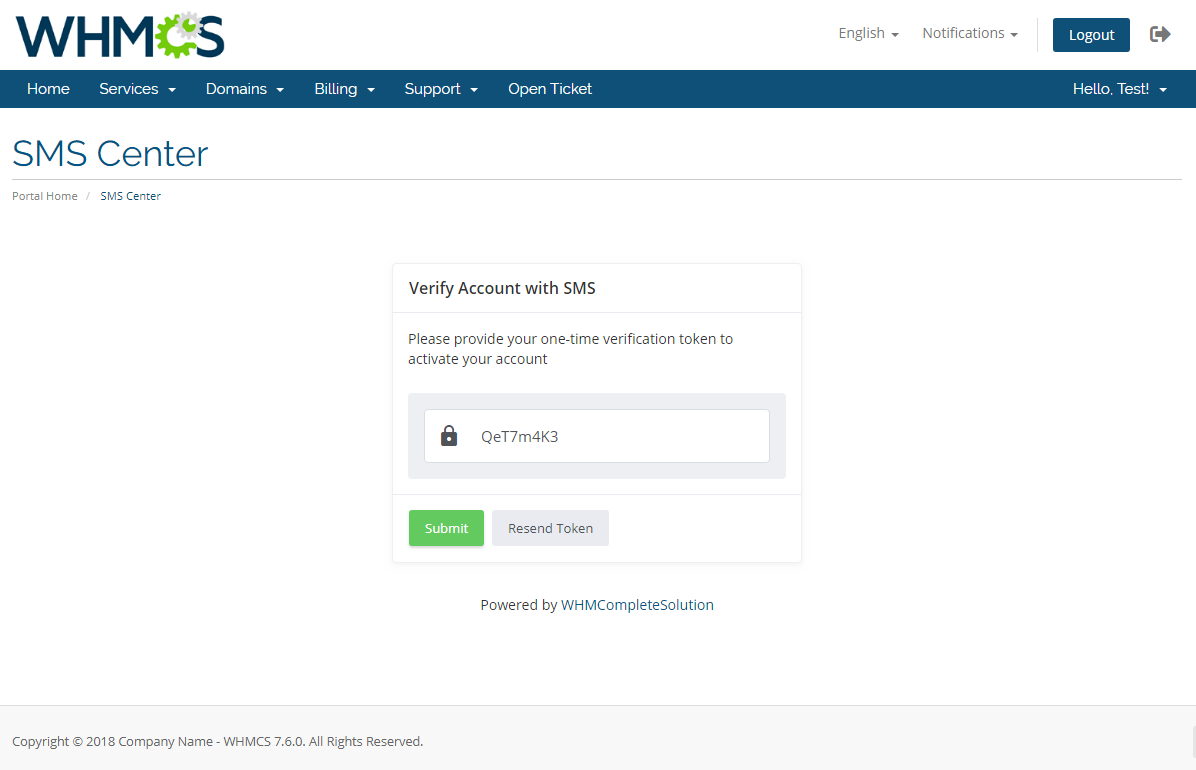 SMS Center For WHMCS: Module Screenshot 25