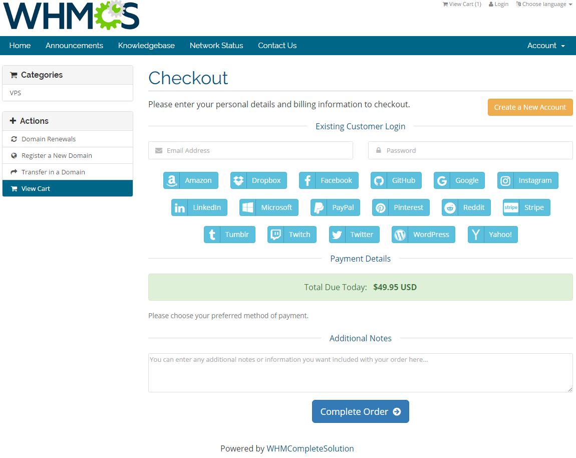 Social Media Login For WHMCS: Screen 2