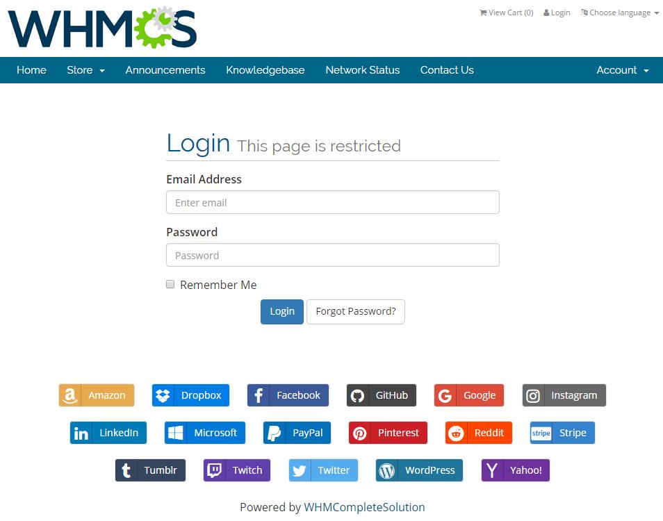 Social Media Login For WHMCS: Screen 1