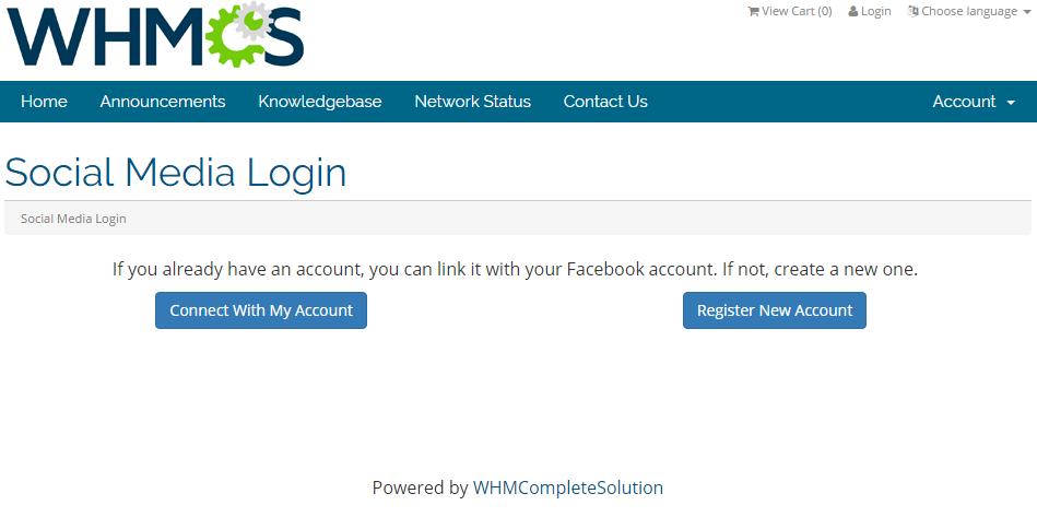 Social Media Login For WHMCS: Screen 3