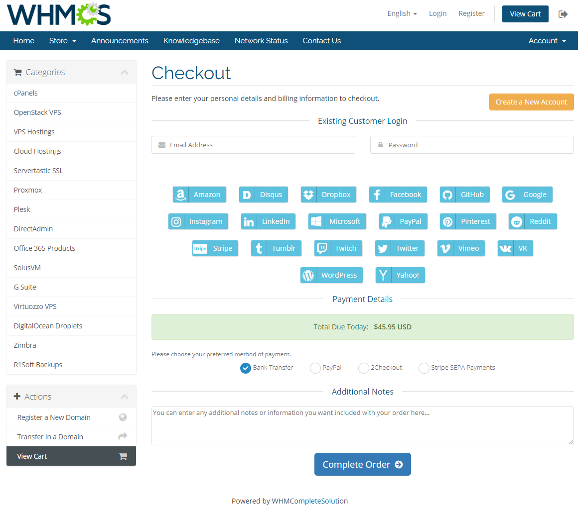 Social Media Login For WHMCS: Screen 3
