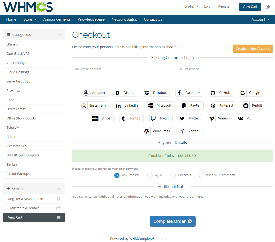 Social Media Login For WHMCS: Screen 4