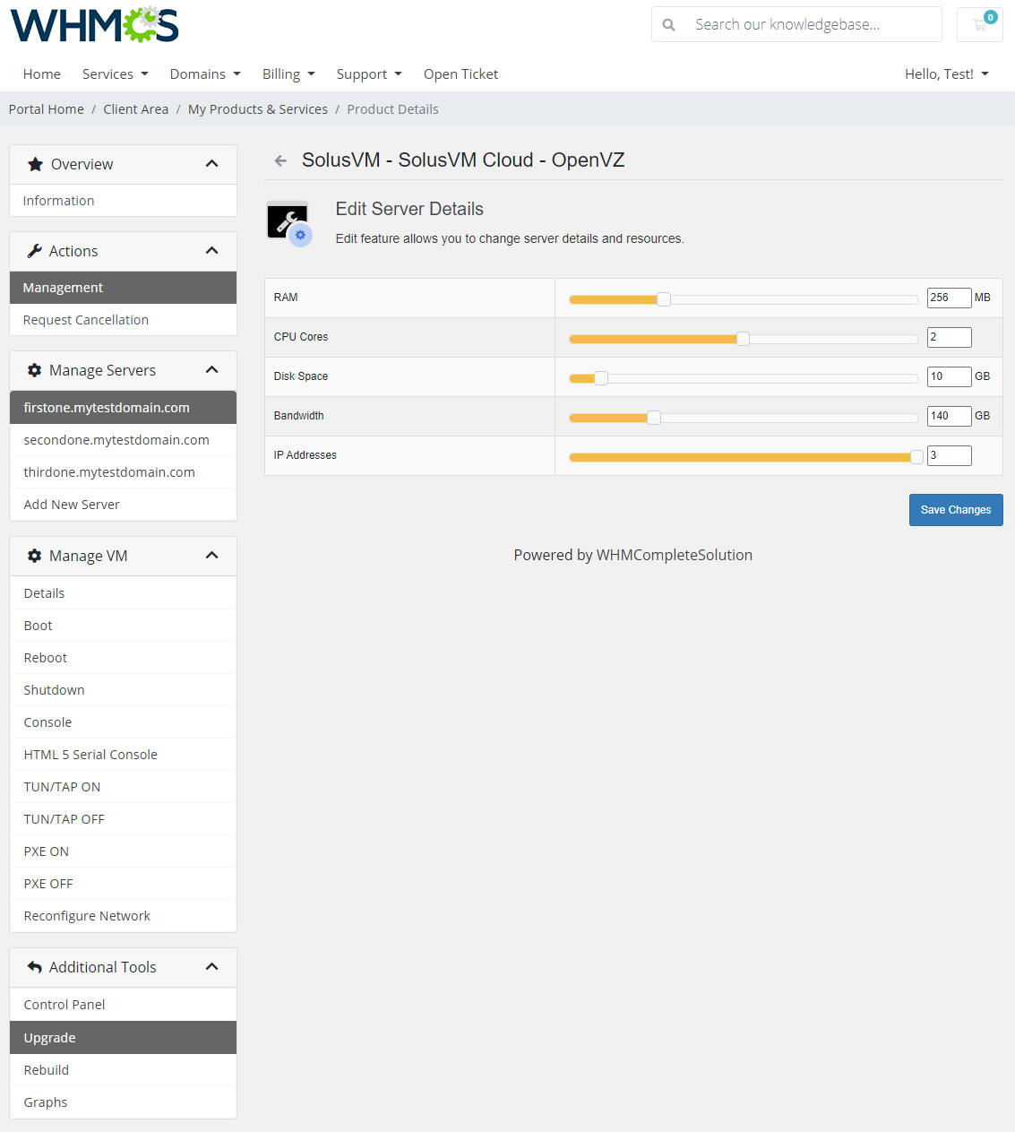 SolusVM Extended Cloud For WHMCS: Module Screenshot 5