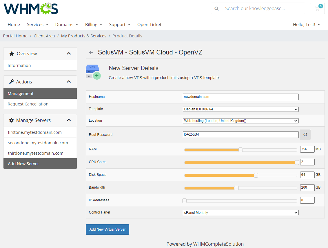 SolusVM Extended Cloud For WHMCS: Module Screenshot 2