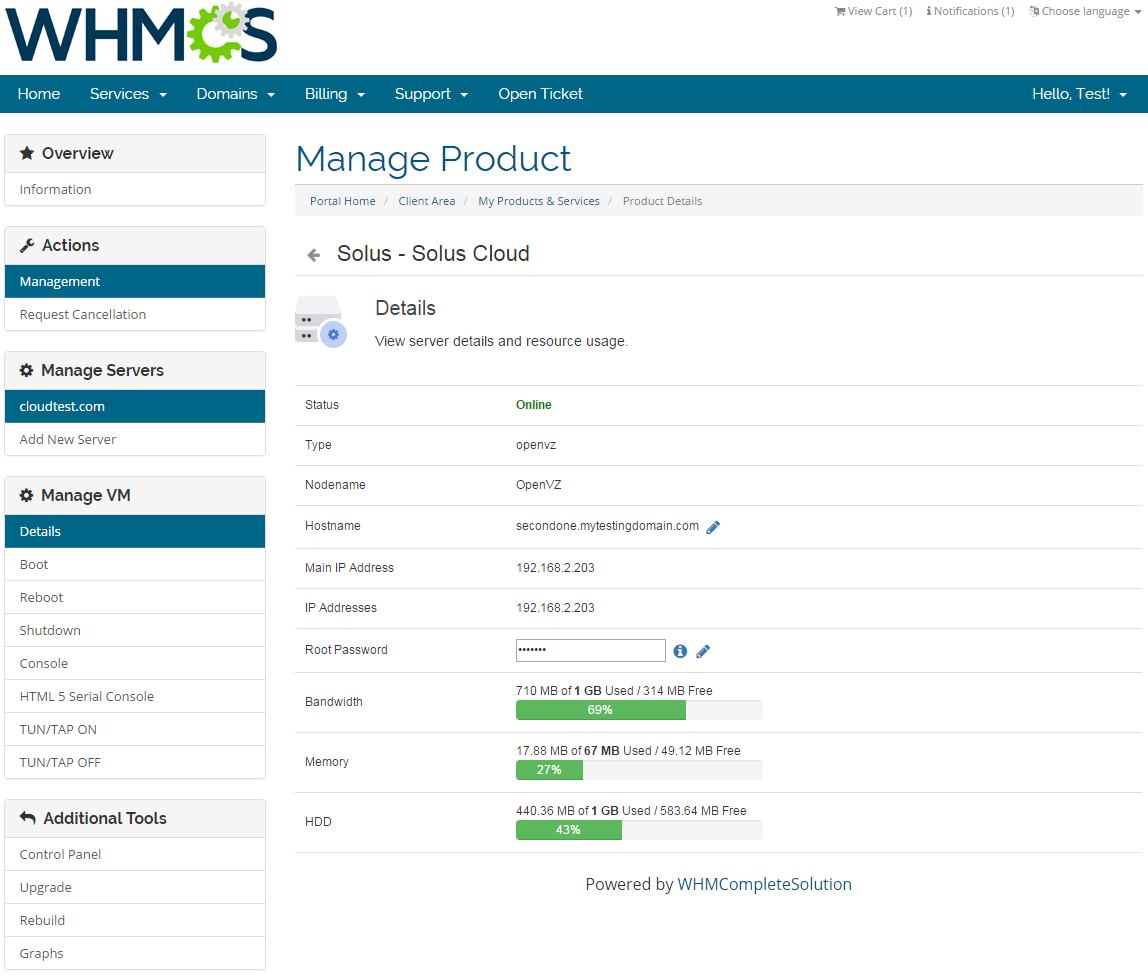SolusVM Extended Cloud For WHMCS: Screen 3