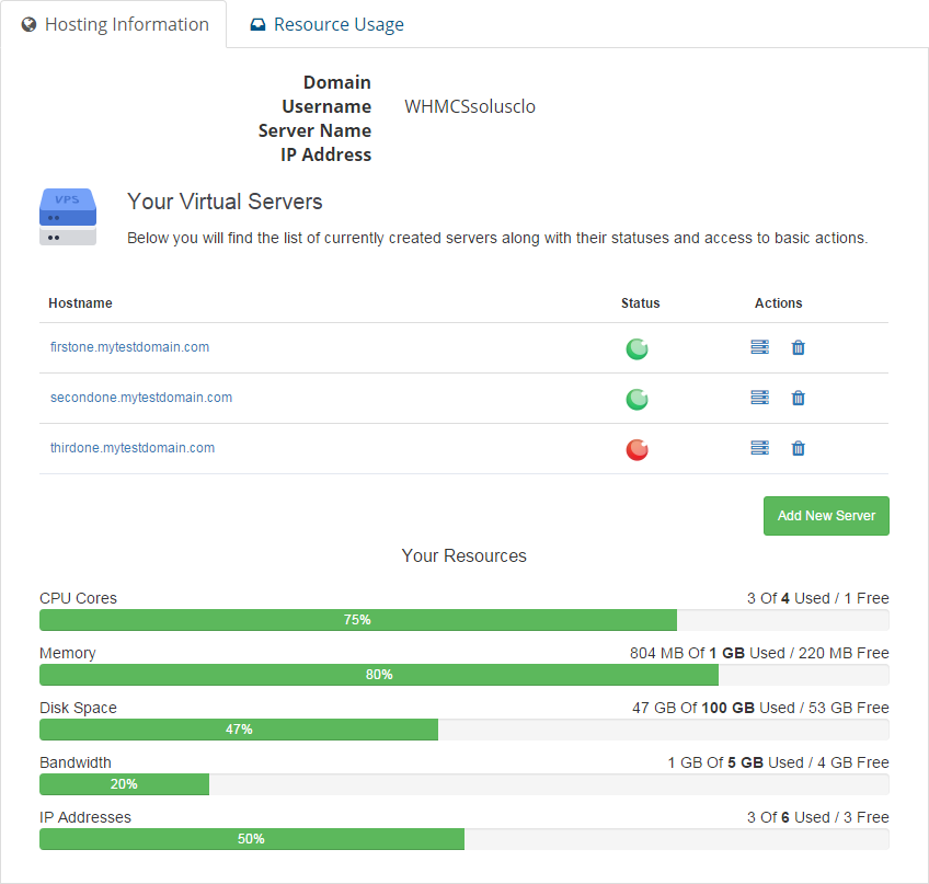 SolusVM Extended Cloud For WHMCS: Screen 1