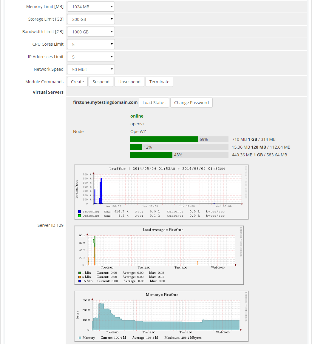 SolusVM Extended Cloud For WHMCS: Screen 6