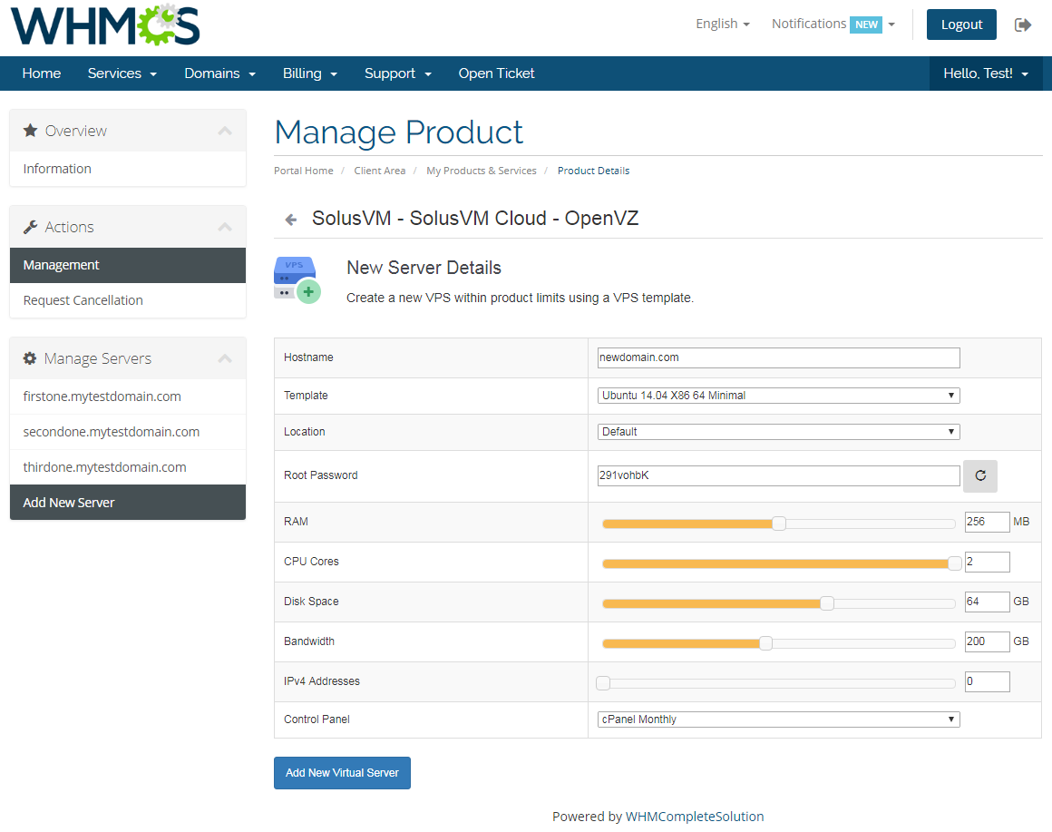 SolusVM Extended Cloud For WHMCS: Screen 2