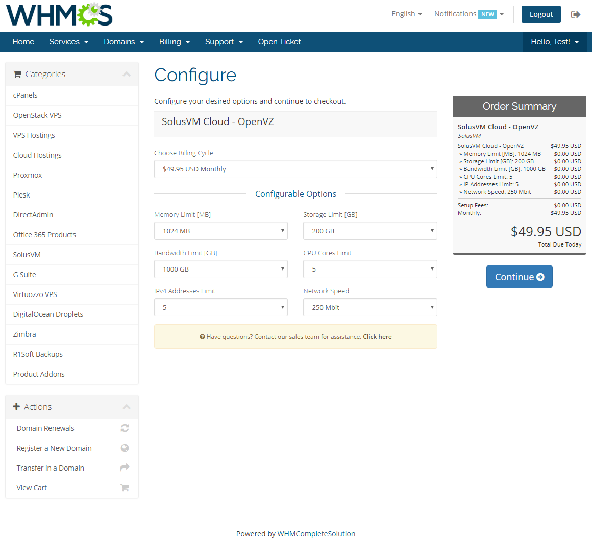 SolusVM Extended Cloud For WHMCS: Screen 8