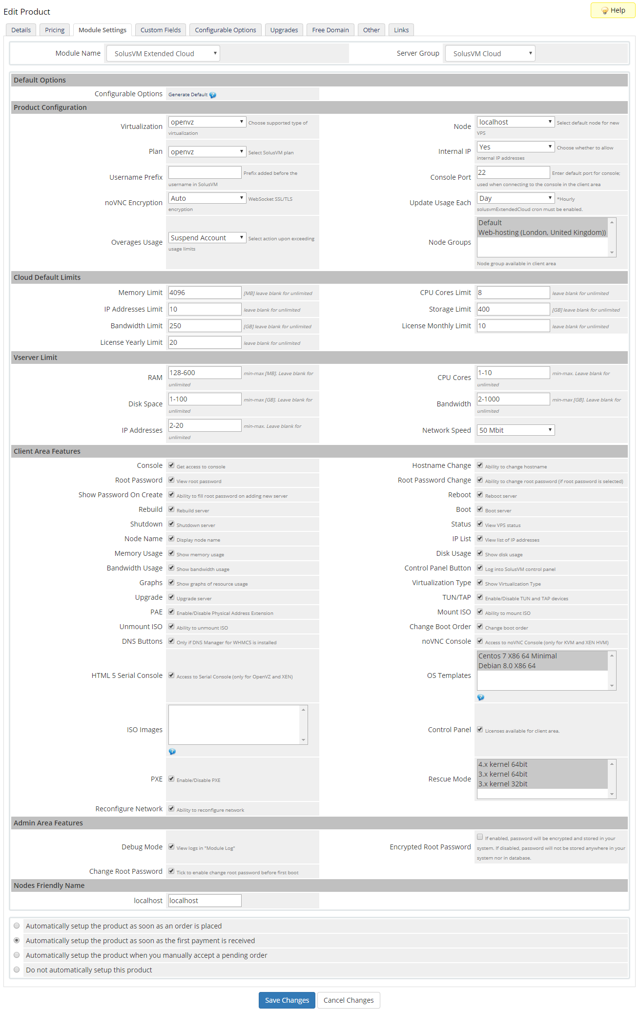 SolusVM Extended Cloud For WHMCS: Module Screenshot 11