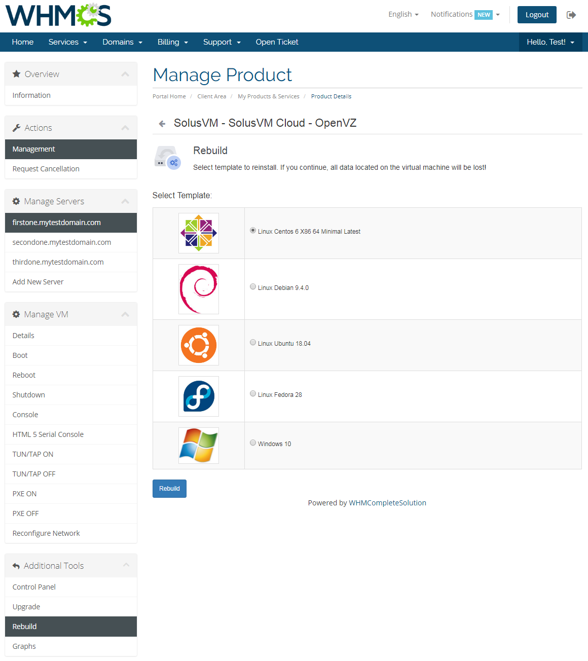 SolusVM Extended Cloud For WHMCS: Module Screenshot 6