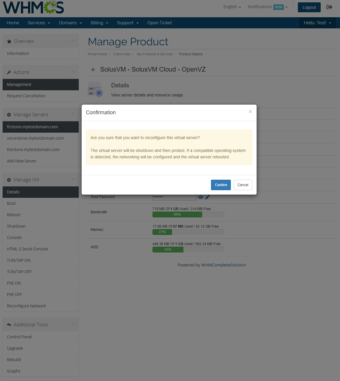 SolusVM Extended Cloud For WHMCS: Module Screenshot 4