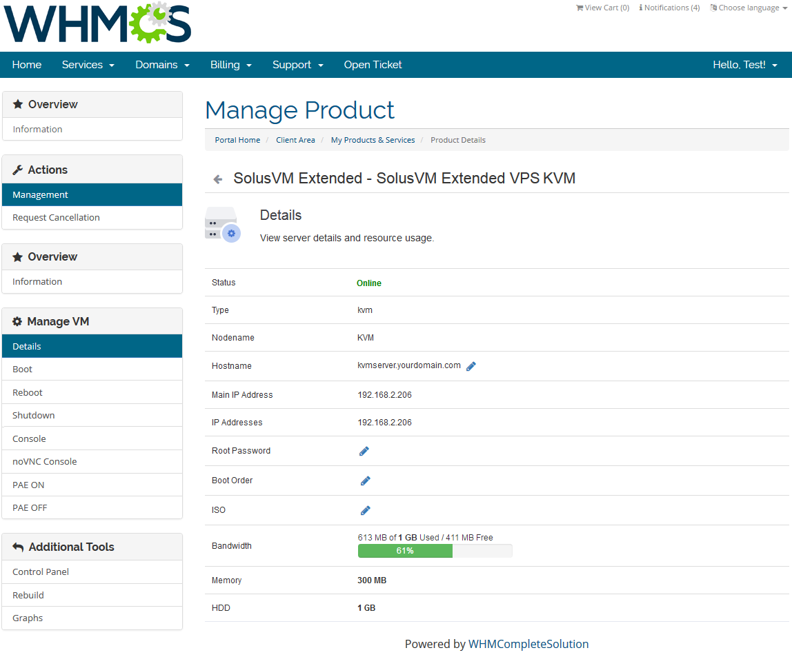 SolusVM Extended VPS For WHMCS: Screen 3