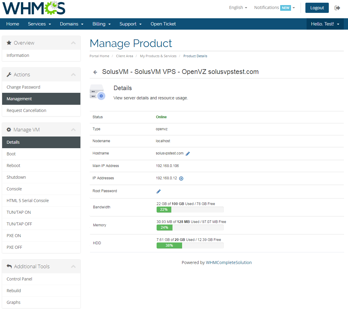 SolusVM Extended VPS For WHMCS: Screen 2