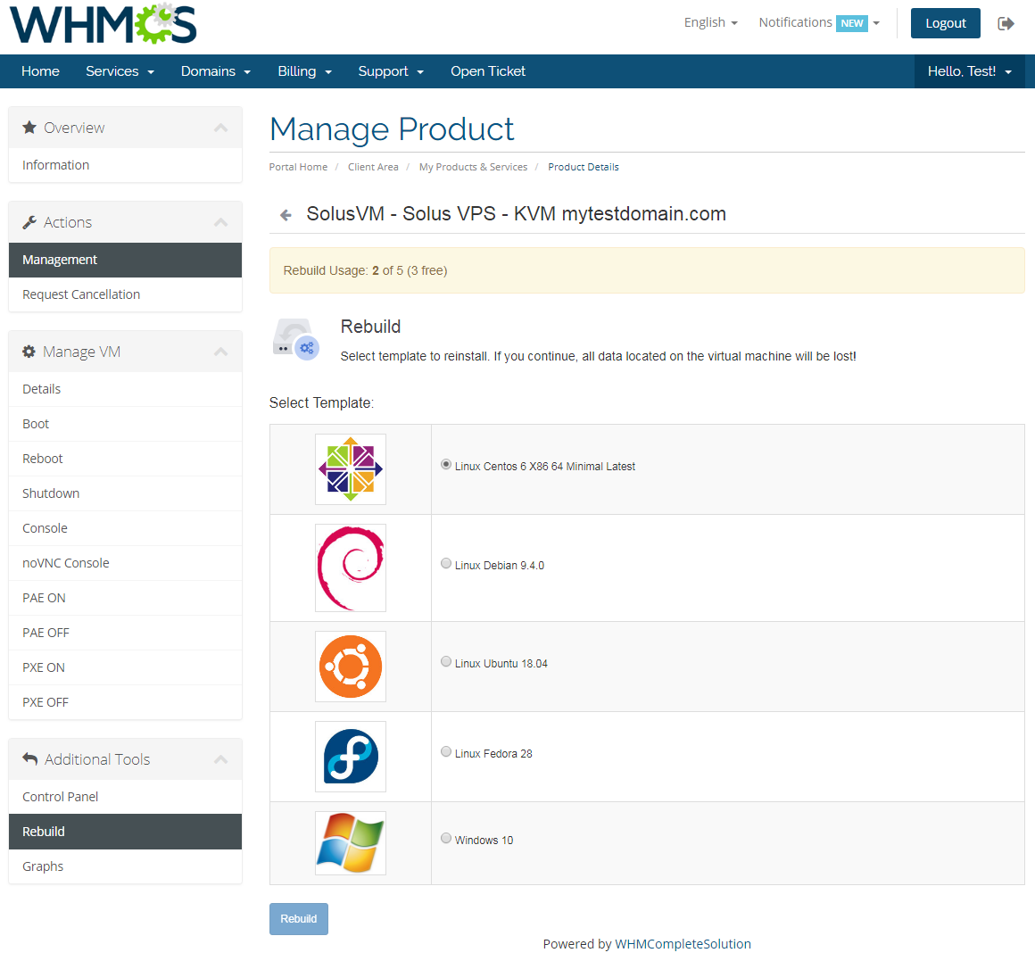 SolusVM Extended VPS For WHMCS: Screen 7