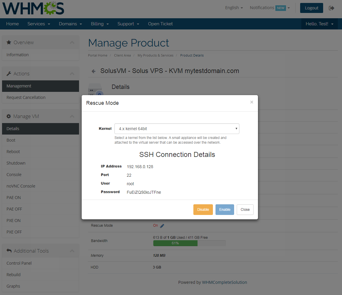 SolusVM Extended VPS For WHMCS: Screen 5