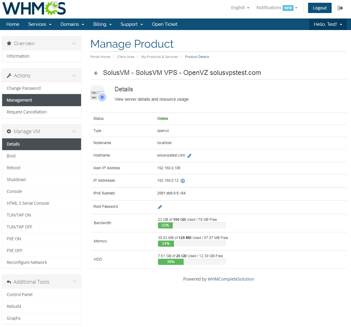 SolusVM Extended VPS For WHMCS: Module Screenshot 2
