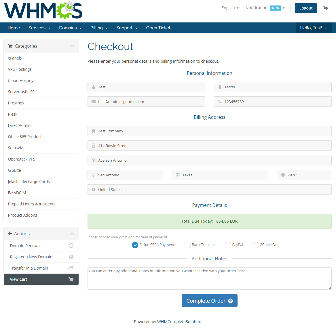 Stripe SEPA Payments For WHMCS: Screen 2