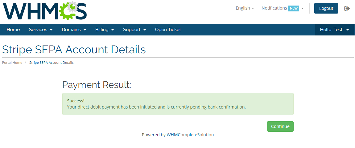 Stripe SEPA Payments For WHMCS: Screen 5