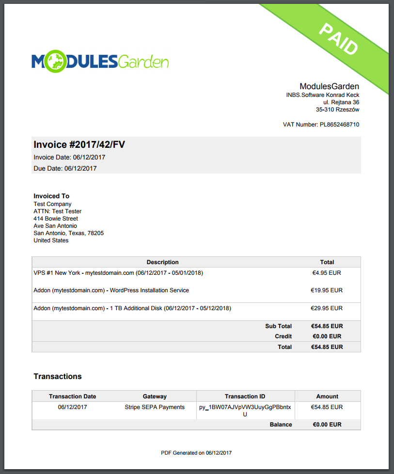 Stripe SEPA Payments For WHMCS: Screen 7