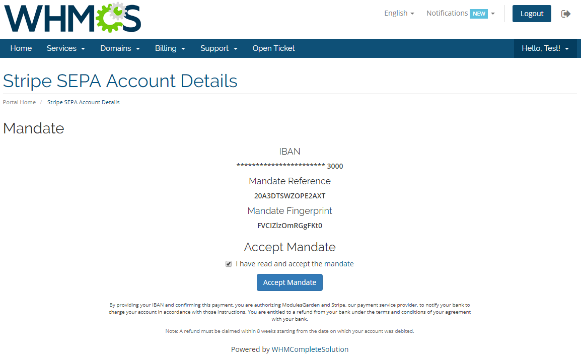 Stripe SEPA Payments For WHMCS: Screen 3