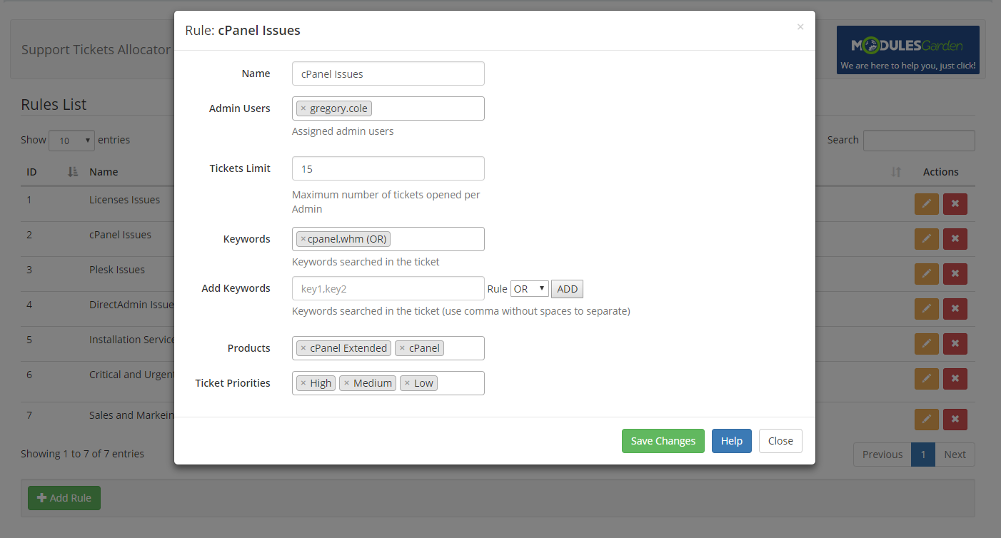 Support Tickets Allocator For WHMCS: Module Screenshot 3