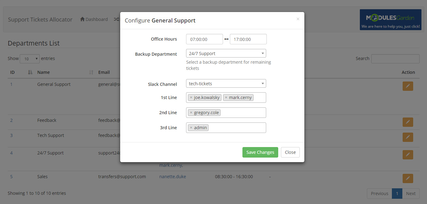 Support Tickets Allocator For WHMCS: Module Screenshot 5