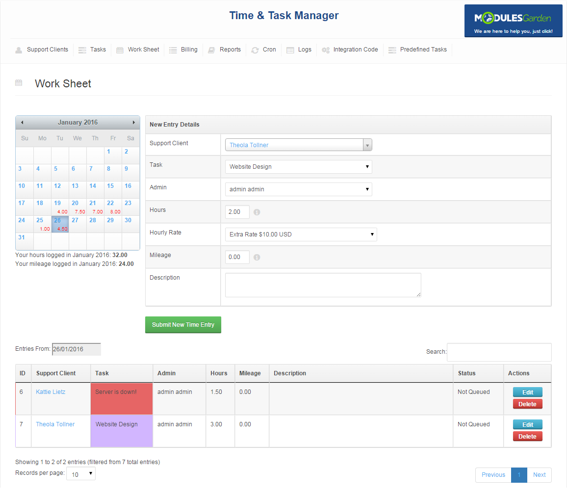 Time & Task Manager For WHMCS: Screen 2