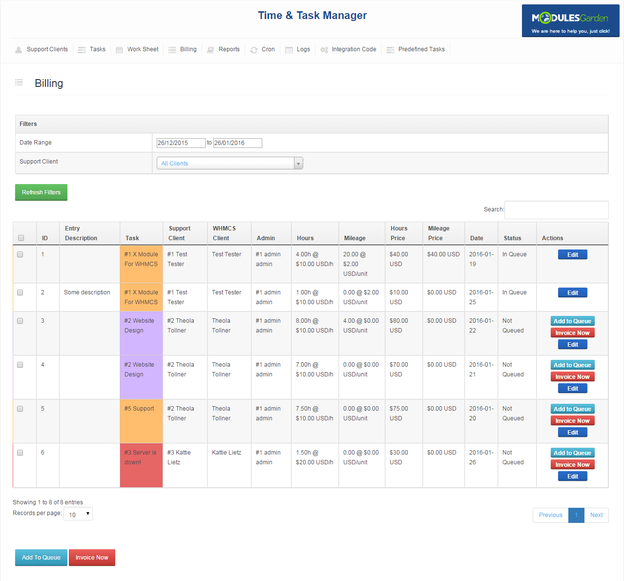 Time & Task Manager For WHMCS: Screen 5