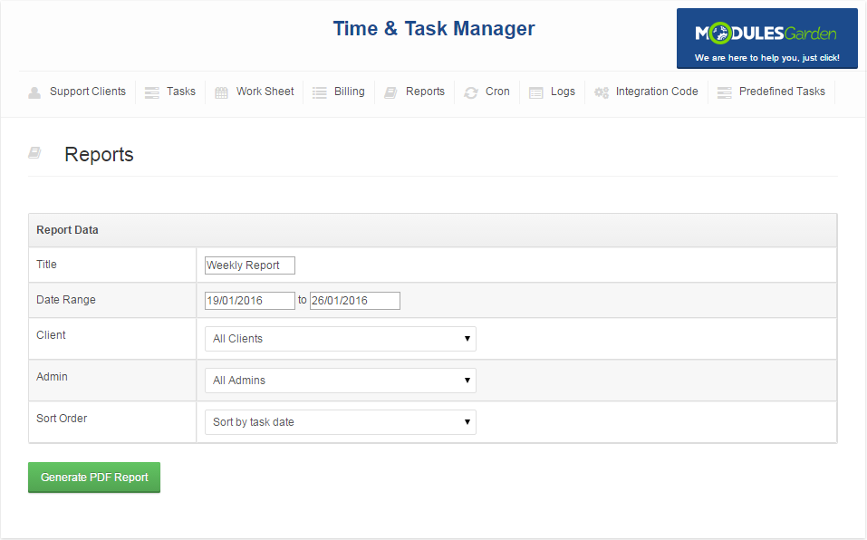 Time & Task Manager For WHMCS: Screen 8