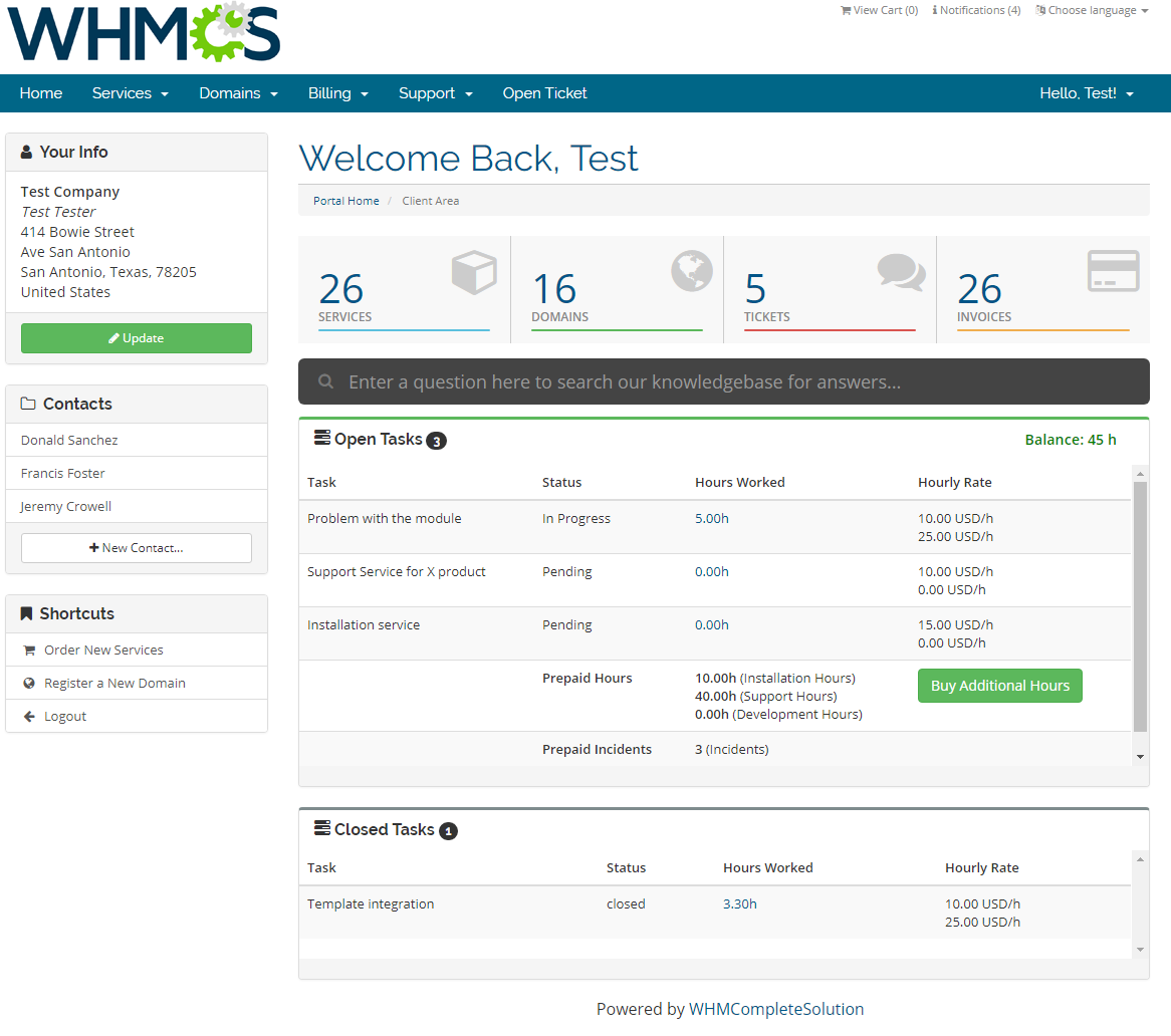 Time & Task Manager For WHMCS: Screen 1