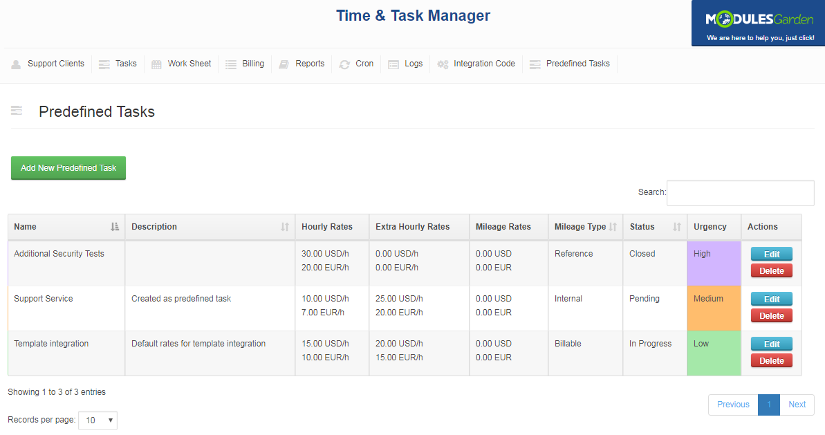 Time & Task Manager For WHMCS: Screen 15