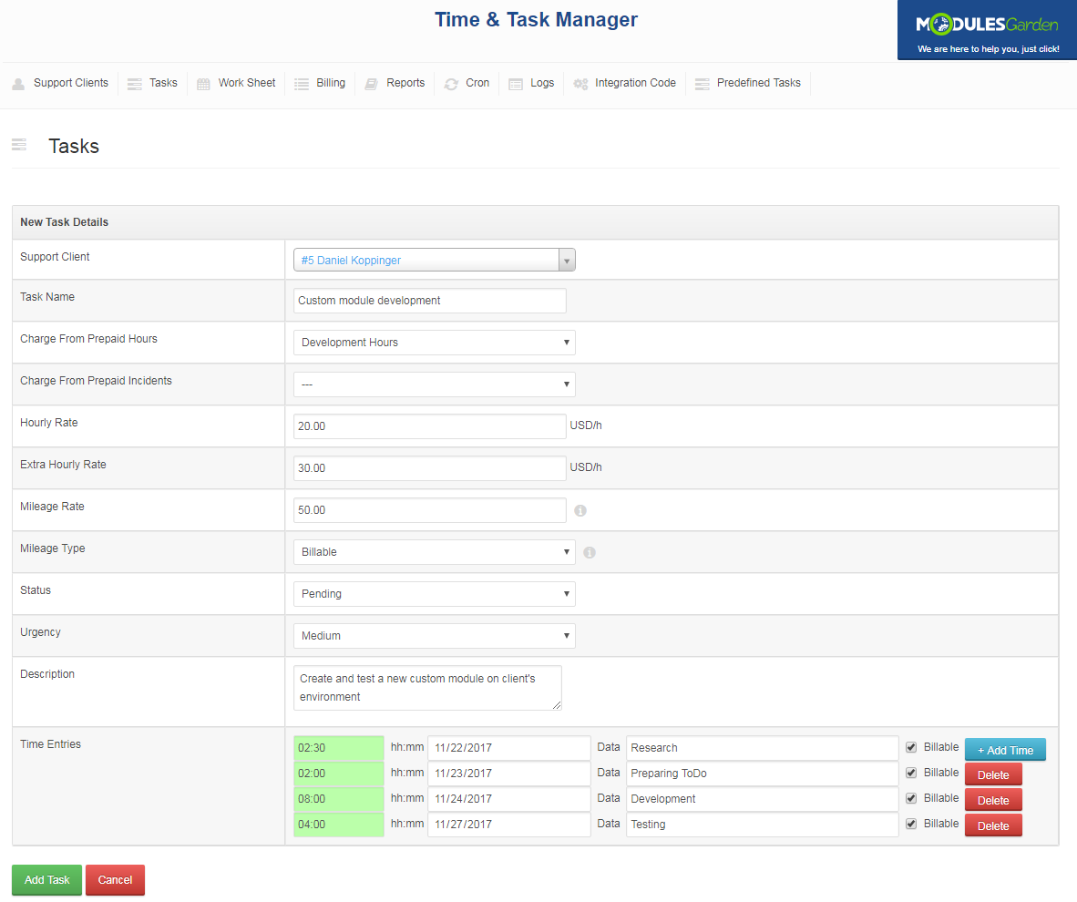 Time & Task Manager For WHMCS: Screen 7