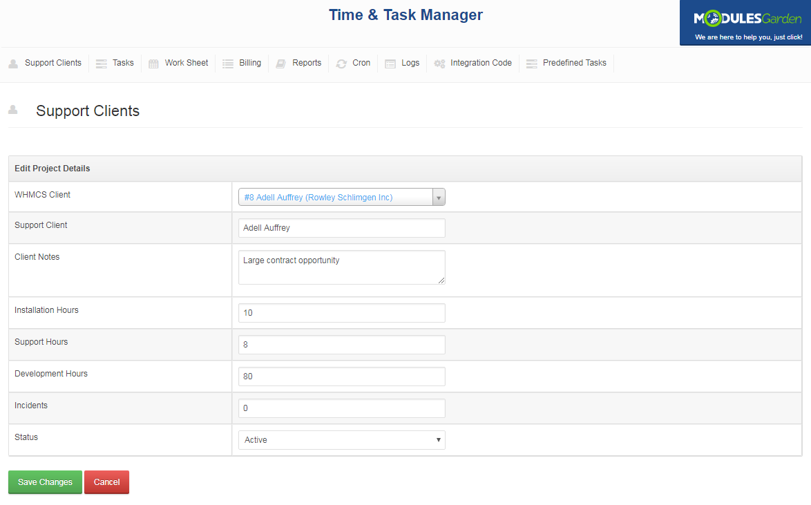 Time & Task Manager For WHMCS: Screen 11