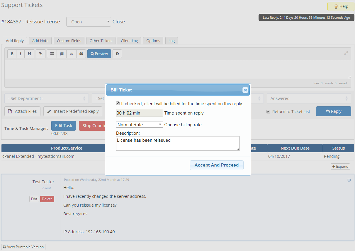 Time & Task Manager For WHMCS: Screen 4