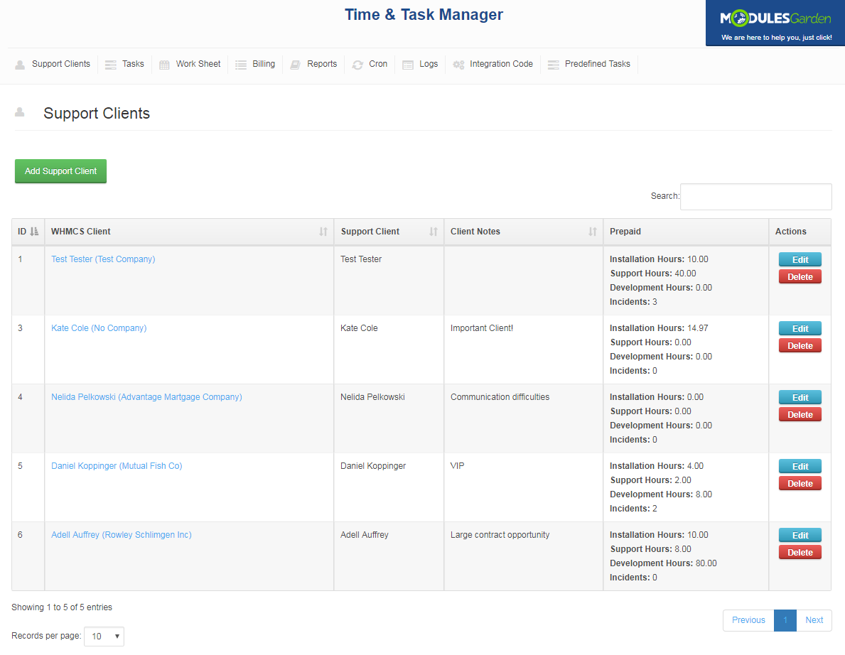 Time & Task Manager For WHMCS: Screen 10