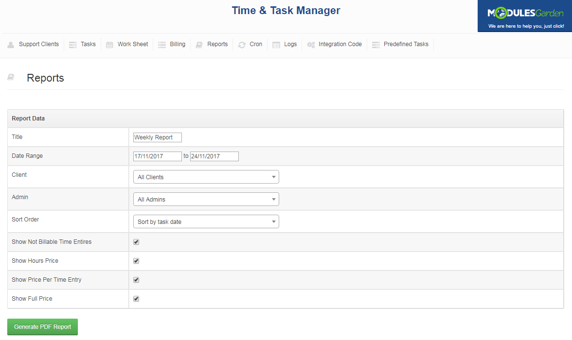 Time & Task Manager For WHMCS: Screen 12