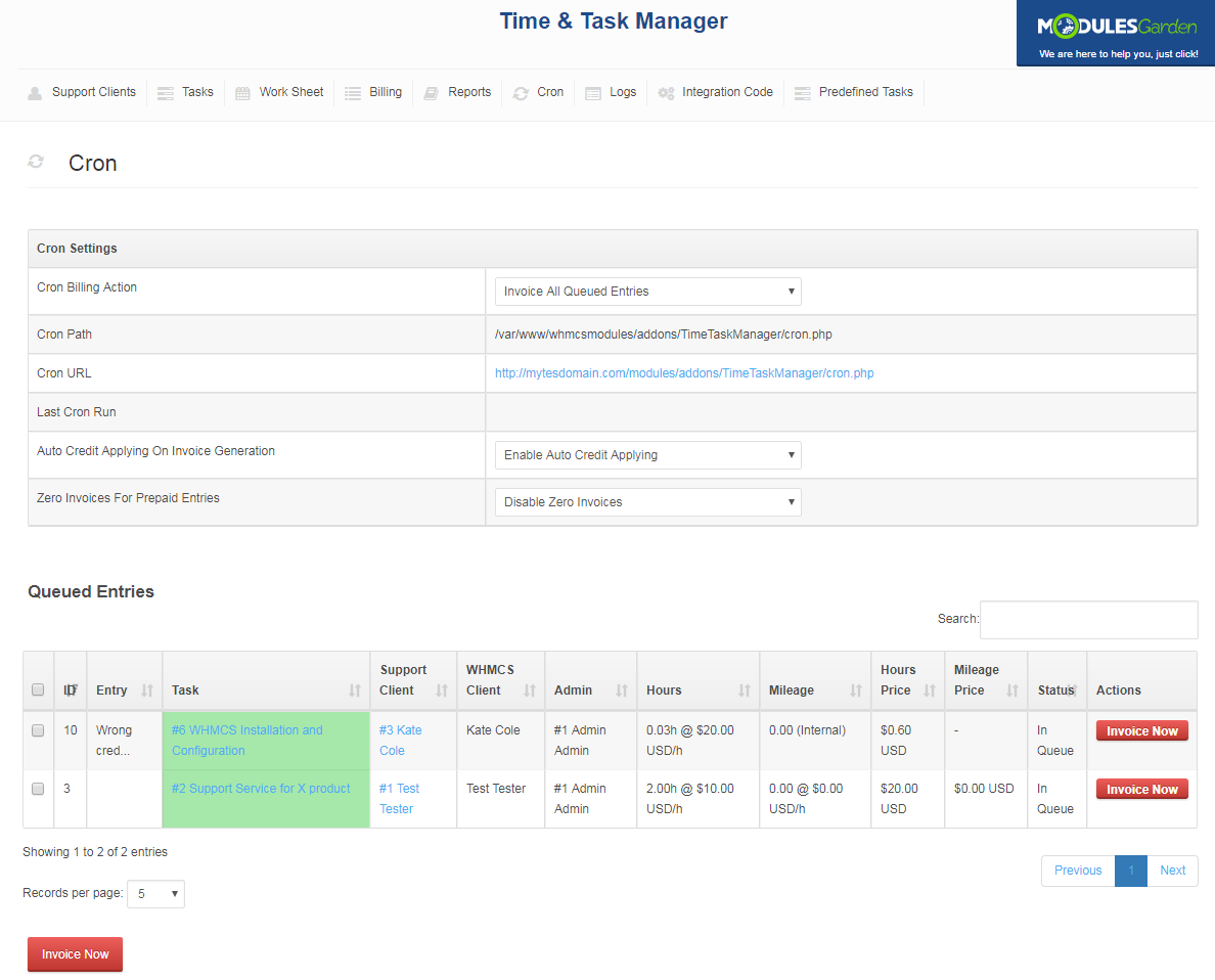 Time & Task Manager For WHMCS: Screen 14