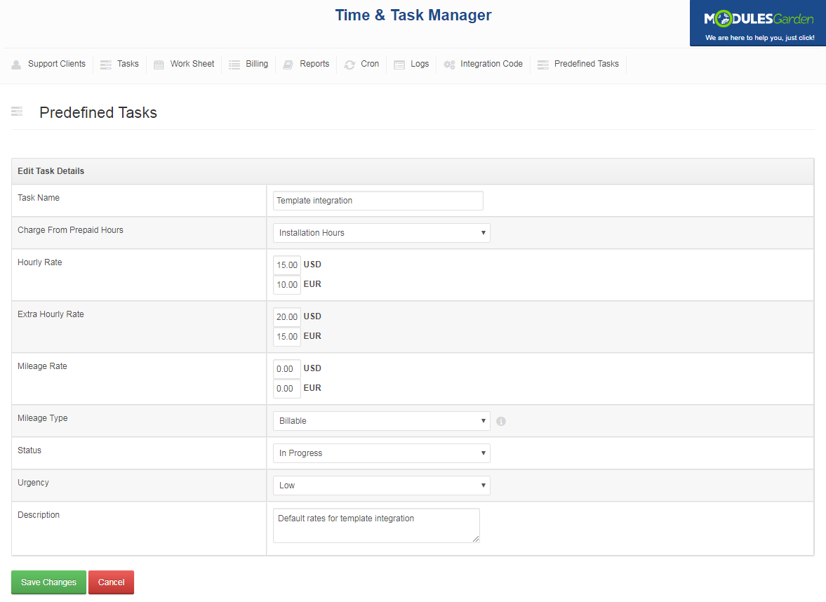 Time & Task Manager For WHMCS: Screen 16