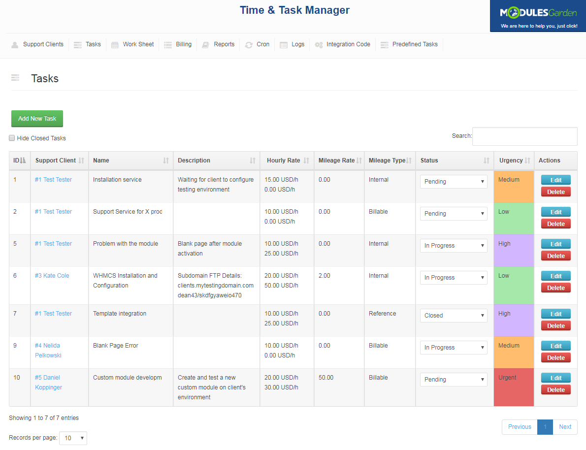 Time & Task Manager For WHMCS: Screen 6