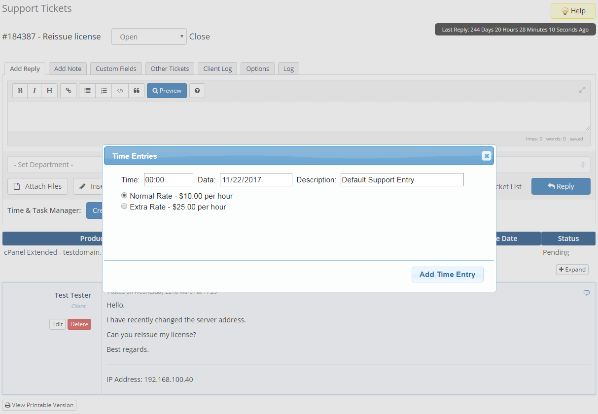 Time & Task Manager For WHMCS: Screen 3