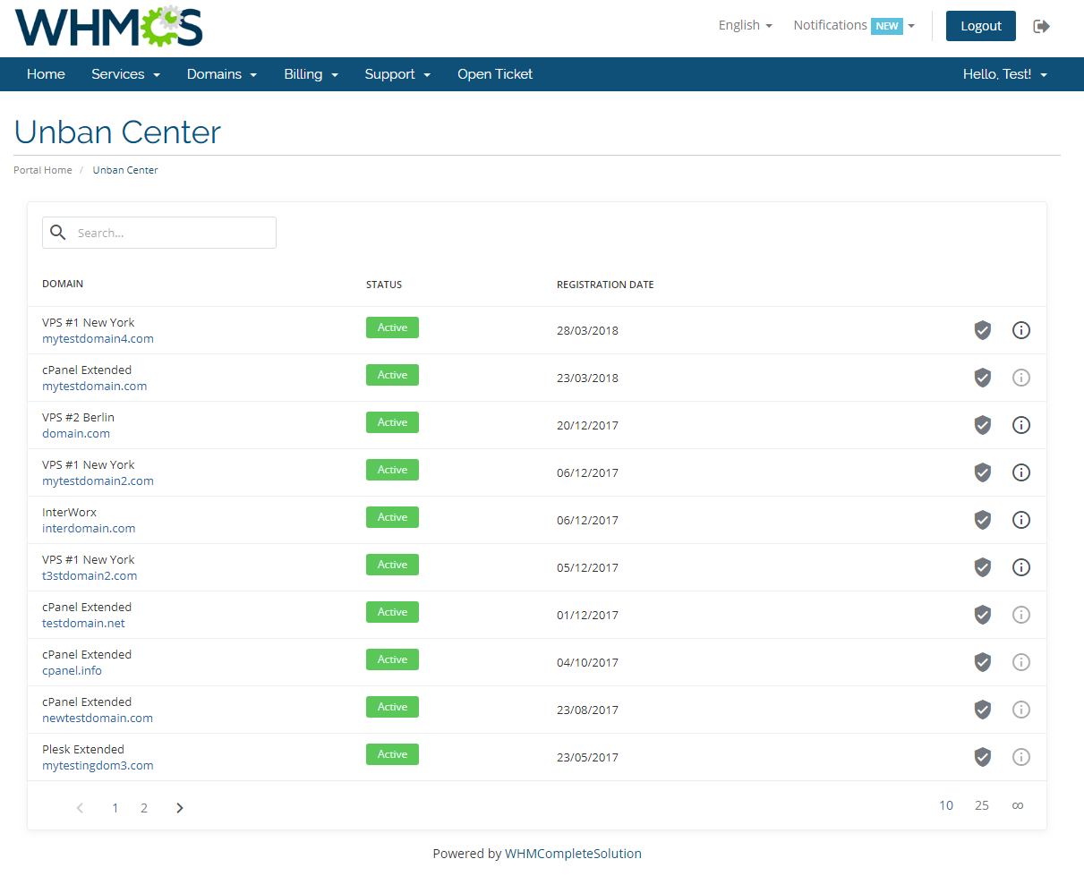 Unban Center For WHMCS: Screen 2