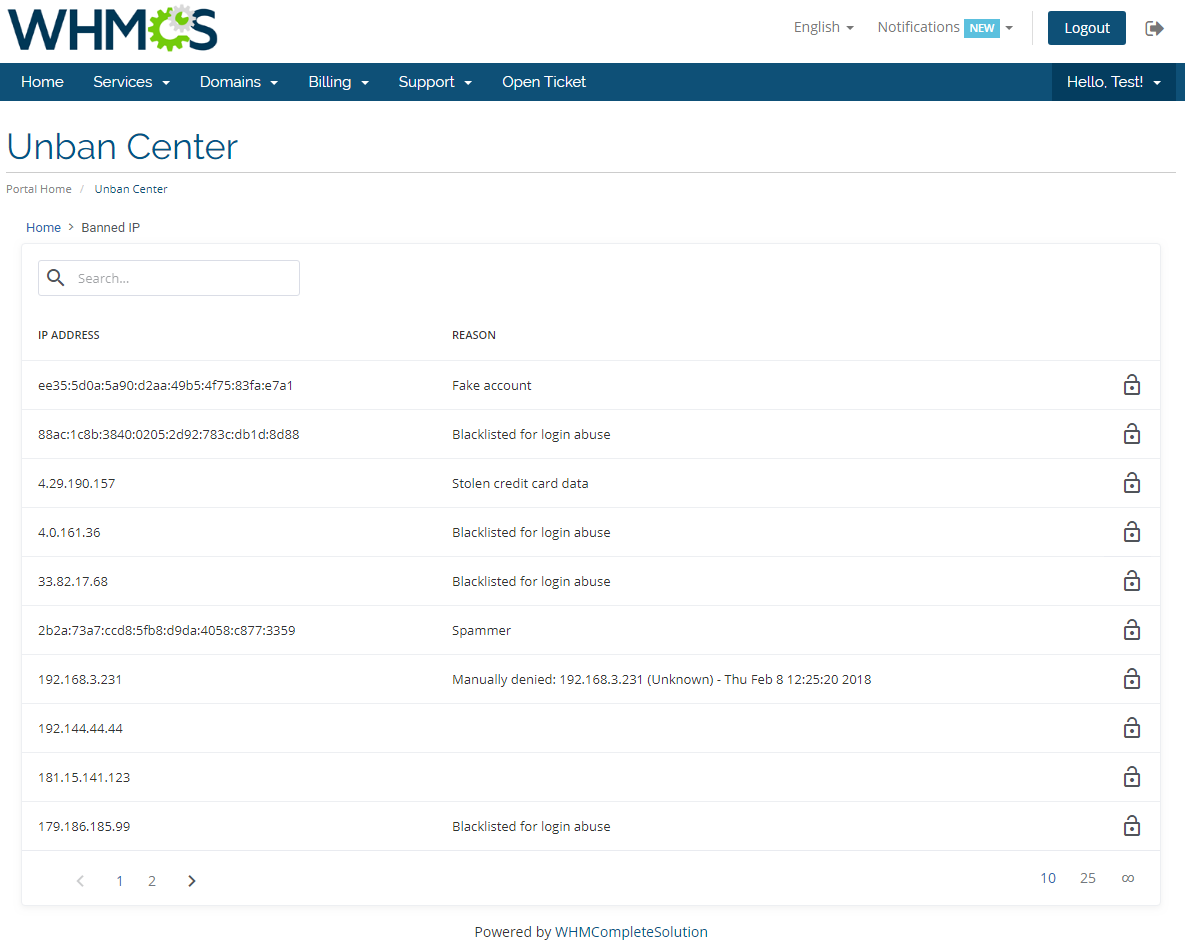 Unban Center For WHMCS: Screen 1