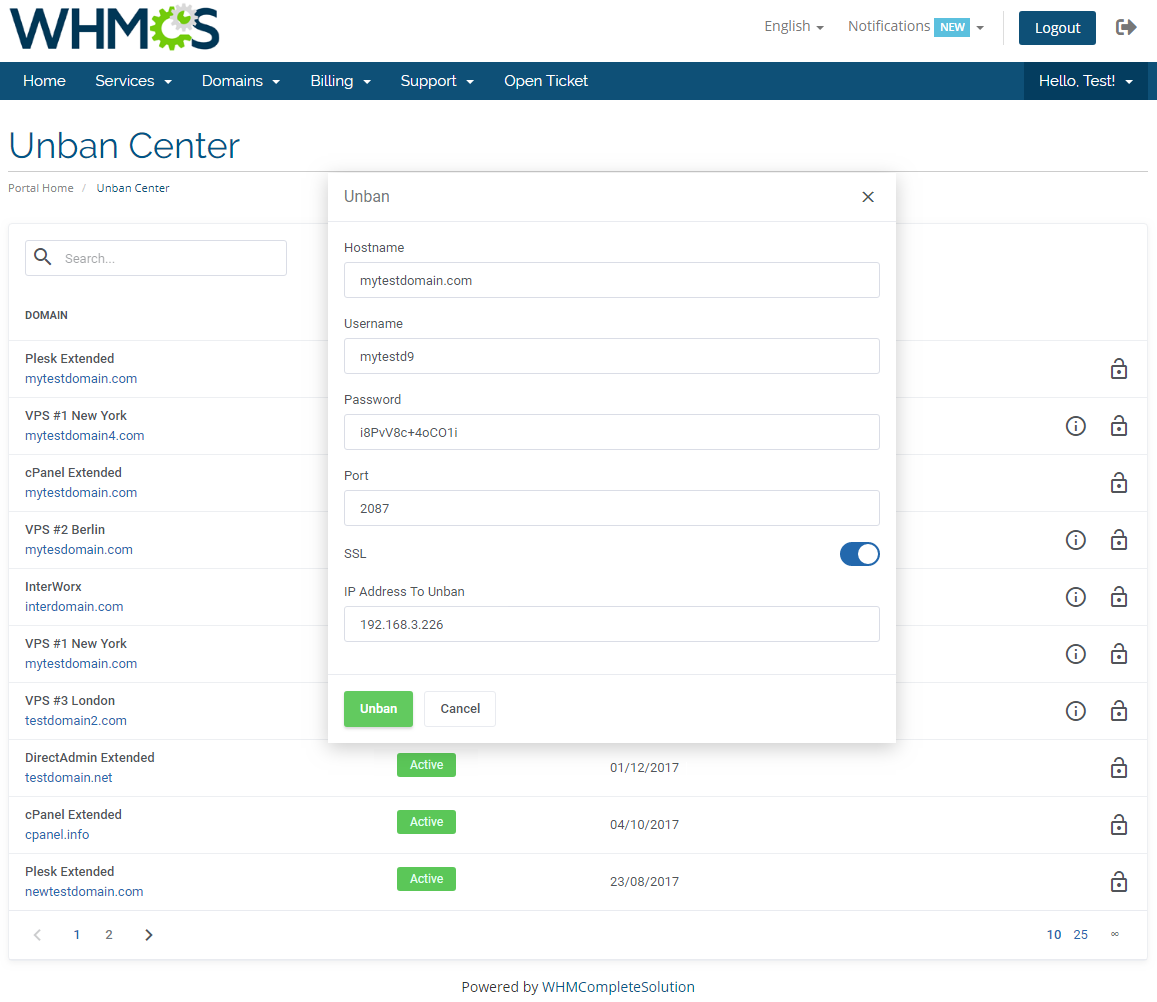 Unban Center For WHMCS: Module Screenshot 3