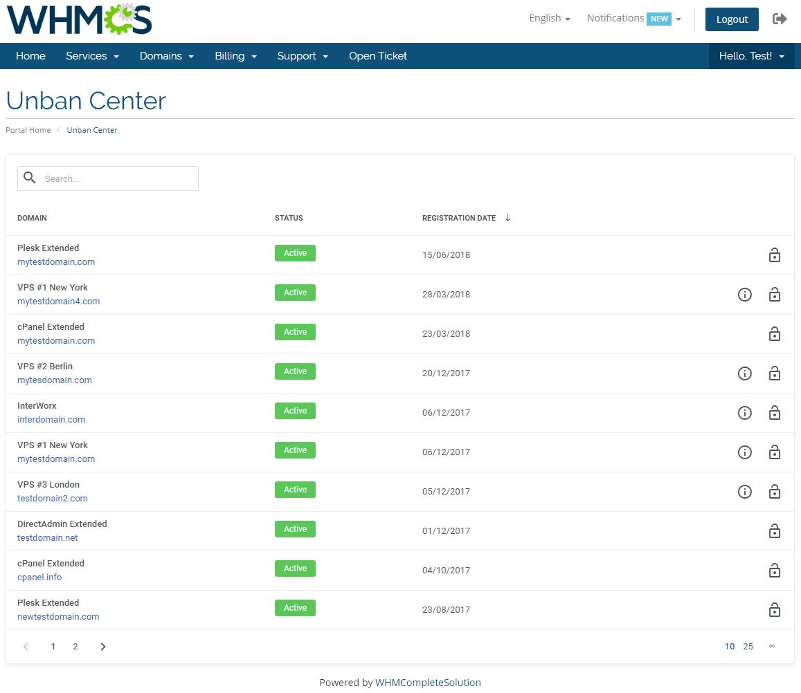 Unban Center For WHMCS: Module Screenshot 2